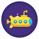 mini, ocean, sea, submarine icon
