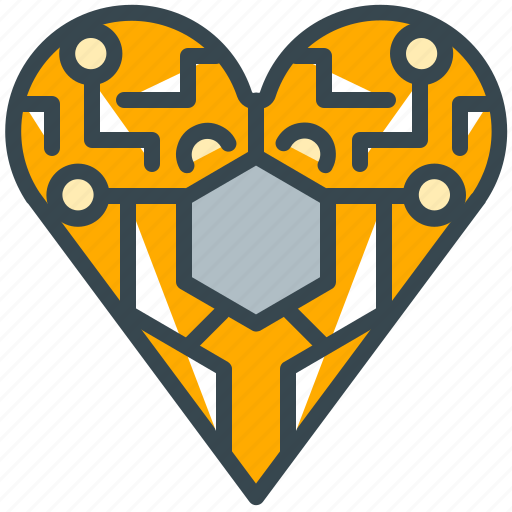 electronic, electronics, health, heart, love, robotics icon