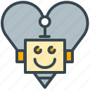 favorite, favourite, heart, love, robot, romantic icon