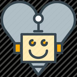 favorite, favourite, heart, love, robot, romantic icon