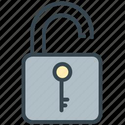 lock, robotics, safety, secure, security, unlock icon