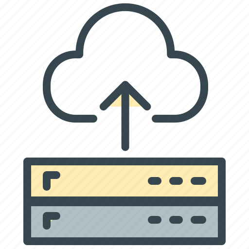 arrow, cloud, database, network, robotics, server, storage icon