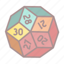 d30, dice, roleplay, tabletop game icon