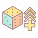 dice, modifier, rise, roleplay, tabletop game icon