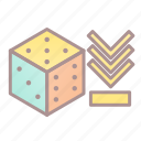 decrease, dice, modifier, roleplay, tabletop game icon