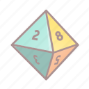 d8, dice, roleplay, tabletop game icon