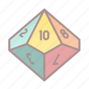d10, dice, roleplay, tabletop game icon