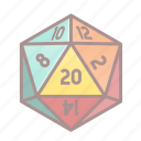 d20, dice, roleplay, tabletop game icon