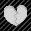 broken, crack, heart, love, split, stone icon