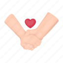 friendship, hand in hand, heart, love, romance, tenderness icon