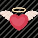 heart, love, nimbus, romance, wings icon