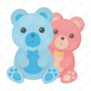 bear, blue, cute, pink, soft, toy icon