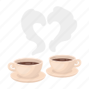 aroma, coffee, cup, drink, heart, romance, silhouette icon