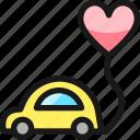 wedding, car, heart, balloon