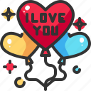 balloons, celebration, decoration, heart, love, party, valentine icon