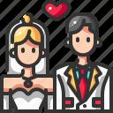 bride, ceremony, couple, groom, love, romantic, wedding icon