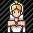 avatar, beautiful, bride, ceremony, female, wedding, woman icon