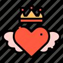 crown, heart, king, love, valentines, wings