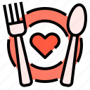 dinner, fork, love, plate, reataurant, spoon icon