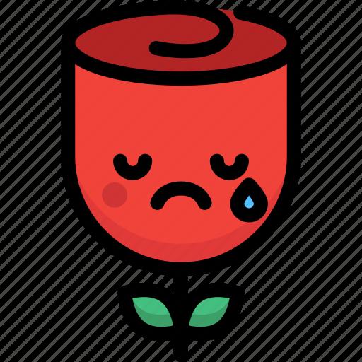 cry, emoji, emotion, expression, face, feeling, rose icon