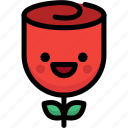 emoji, emotion, expression, face, feeling, happy, rose icon