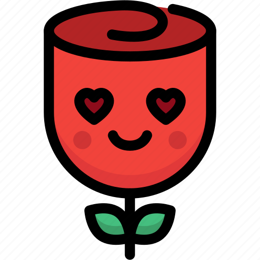 emoji, emotion, expression, face, feeling, love, rose icon