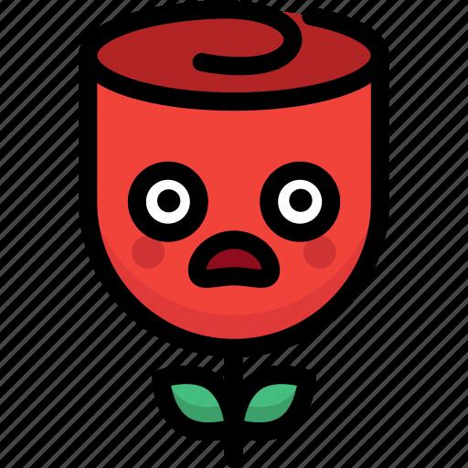 emoji, emotion, expression, face, feeling, rose, shocked icon