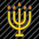 big, candle, hanukkah, hashanah, israel, menorah, rosh icon