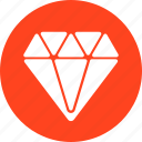 best, circle, diamond, gem, jewelry, premium, red icon