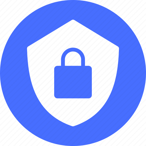 blue, encryption, firewall, lock, safe, secure, security icon