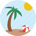 scenery, palm tree, beach, landscape, beach ball, vacation, summer