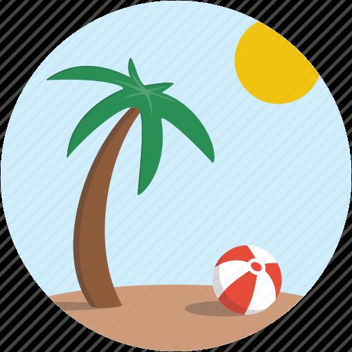 balloon, beach, landscape, palm tree, scenery icon