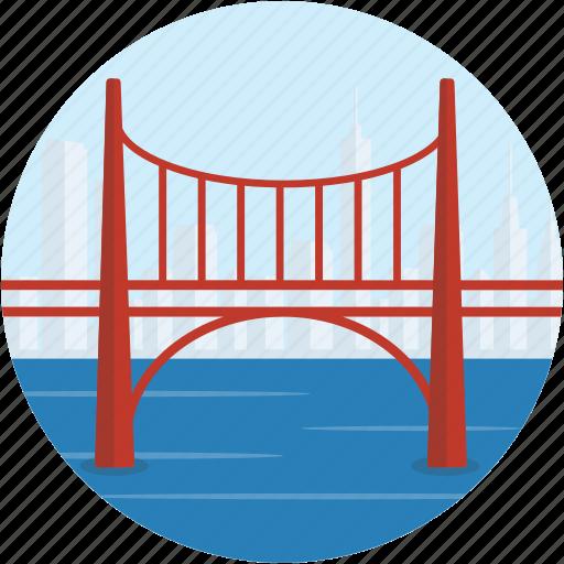 bridge, city, landscape, river, scenery, town icon