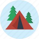 camping, circle, forest, landscape, scenery, vacation icon