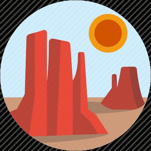 canyon, circle, desert, hot, landscape, scenery icon