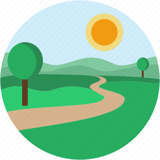 circle, country, landscape, road, scenery icon