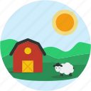 circle, country, farm, landscape, scenery, sheep icon