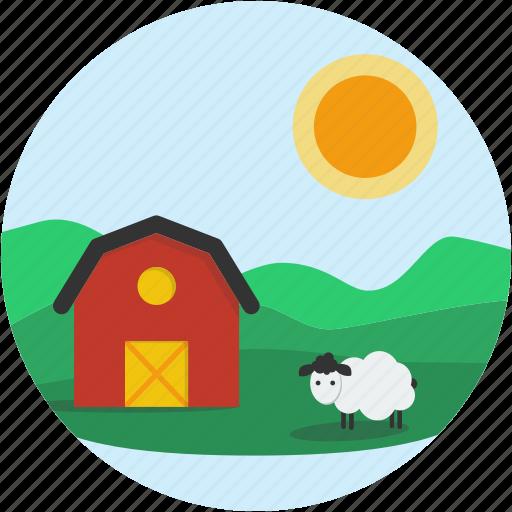 circle, country, farm, landscape, scenery, sheep icon