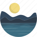circle, lake, landscape, night, river, scenery icon