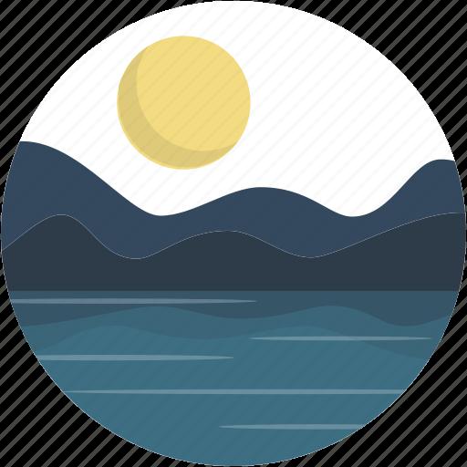 circle, lake, landscape, night, river, scenery icon