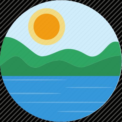 lake, landscape, river, scenery, sun icon