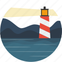 circle, landscape, lighthouse, night, scenery icon