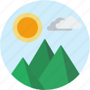 circle, landscape, mountain, scenery, sun icon
