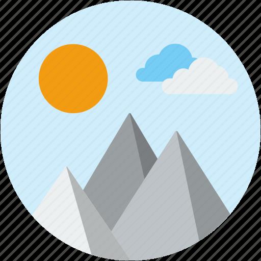 circle, landscape, mountain, scenery, snow, winter icon