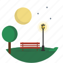 circle, lamppost, landscape, night, park, scenery icon