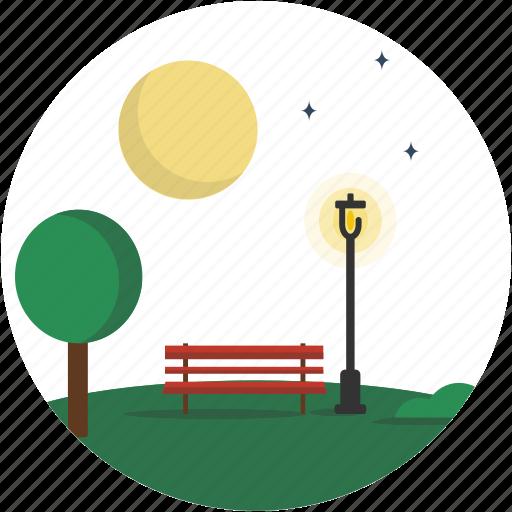 circle, lamppost, landscape, night, park, scenery icon