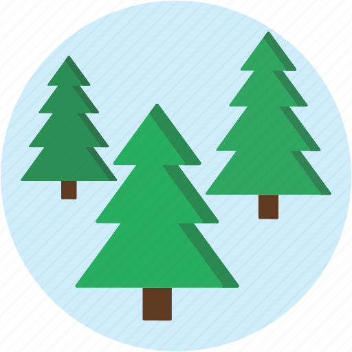 circle, forest, landscape, pine, scenery icon