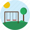 circle, landscape, playground, scenery, swing icon