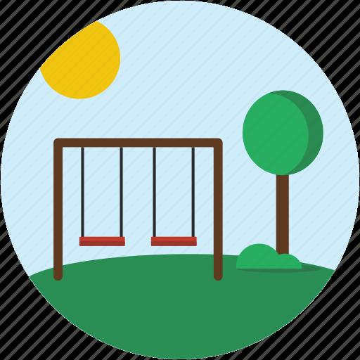 circle, landscape, playground, scenery, swing icon