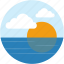 circle, lake, landscape, river, scenery, sunset icon